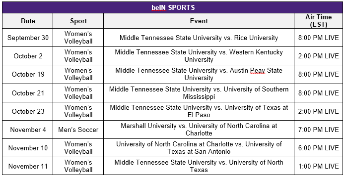 beIN Volleyball Schedule